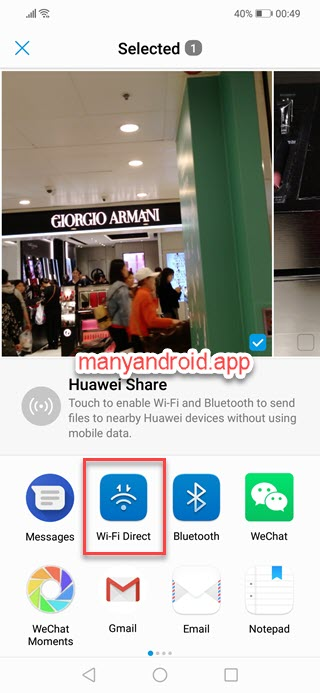 share photos via Wi-fi direct on Huawei phone