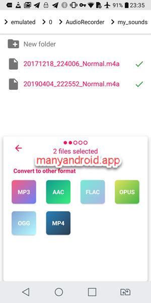 Convert sound recordings from M4A to MP3 on Android phone