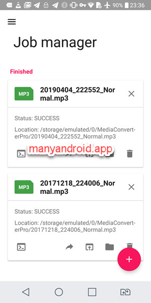 Android Media Converter job manager