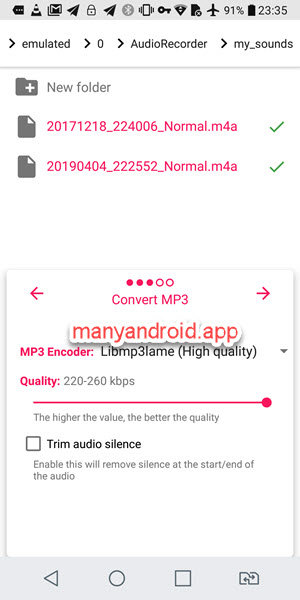 android media converter m4a to mp3