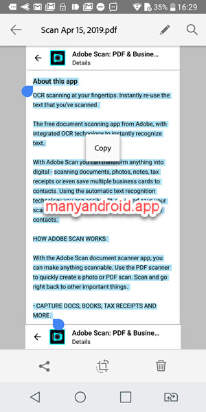 recognize, select, copy text from images, pdf, adobe scan on android phone