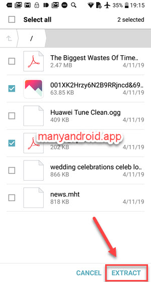 open zip, extract zip files, unzip files in Android file manager