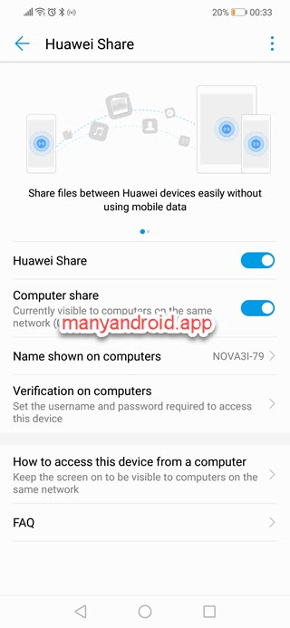 enable huawei share, computer share on huawei mobilephone