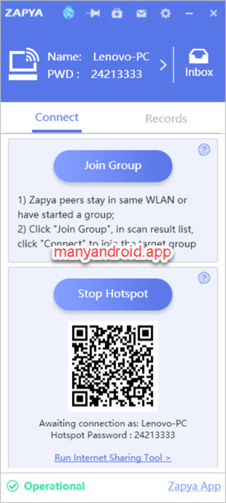 Zapya for Windows - create hotspot