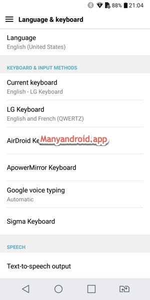 lg android phone language, keyboard, input method settings
