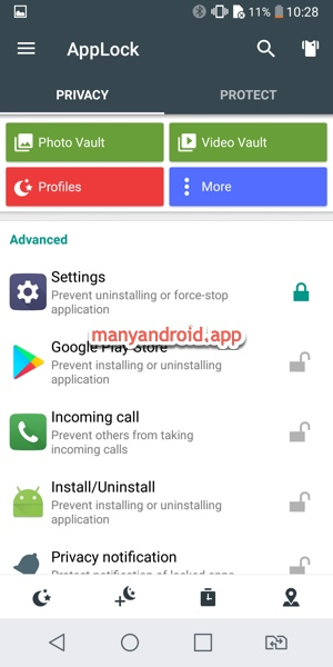 Lock settings and apps using applock on Android phone