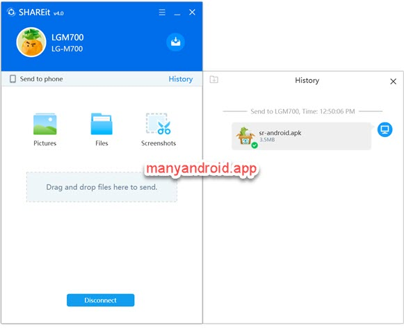 transfer android apps, apk files from PC to mobile phone using SHAREit app