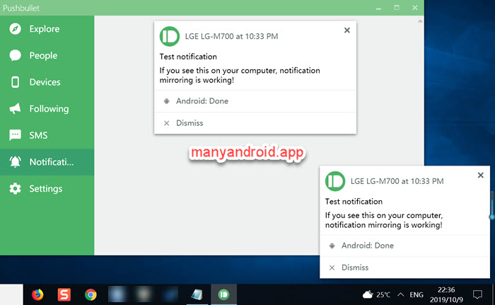 android to windows PC notification mirroring via pushbullet app