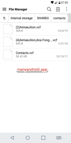import contacts from vcf, vCard file to android phone via file manager app - shareit