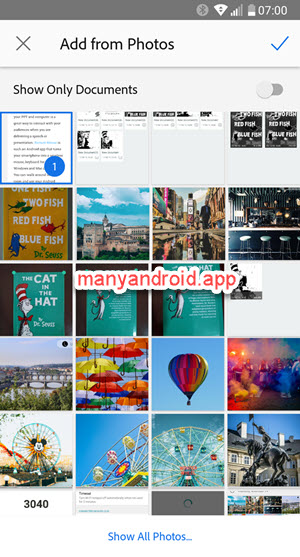 add photos, screenshots, images to adobe scan app on android phone