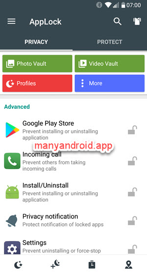 lock settings, services, apps on android phone using AppLock