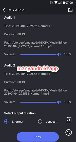 mix audio on android phone using music editor app
