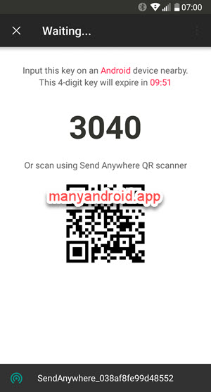 send anywhere 4 digit key, qr code android mobile phone