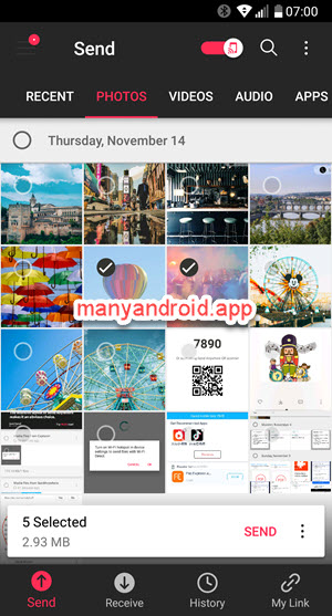 send anywhere app select photos, files to send from android mobile phone