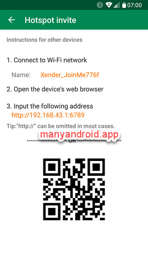 share xender app, send xender app to other android phone via hotspot