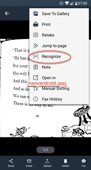 recognize text ocr using simple scanner app on android phone