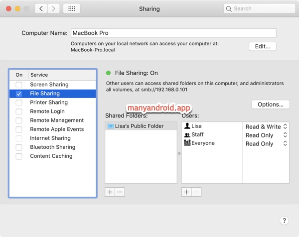 turn on file sharing mac