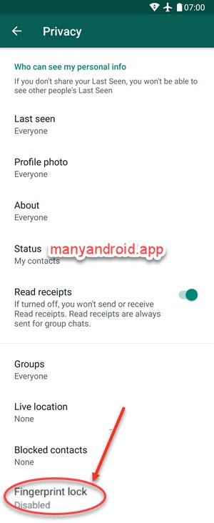 enable fingerprint lock on whatsapp for android