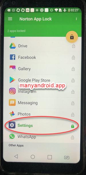 lock android phone settings using norton app lock
