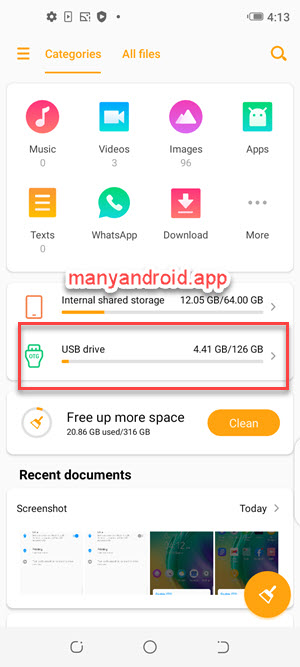 access usb drive through otg using file manager app from tecno mobile phone