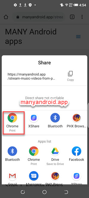 chrome browser to share and print web pages on android mobile phone