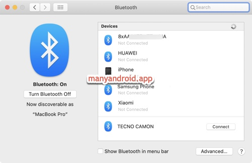 connect, pair Mac with Tecno Mobile phone bluetooth