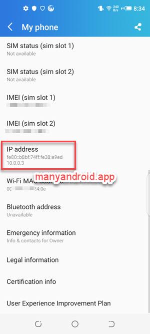 View Tecno IP address from Settings My Phone