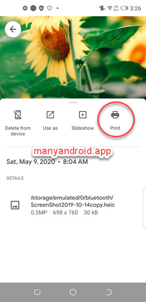use google photos app to print images on android phone