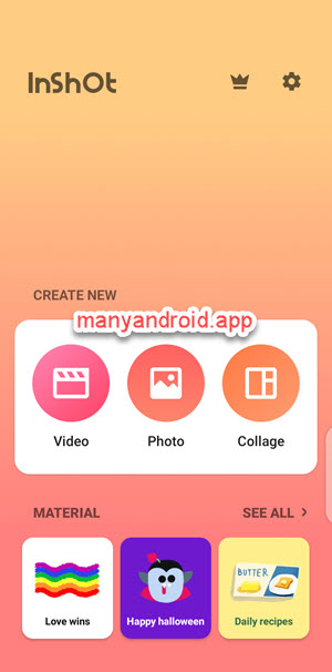 inshot video editor home android phone