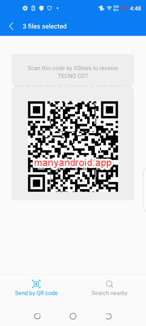 scan this qr code to receive files with xshare on android phone