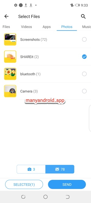 shareit on android phone to select files folder to send