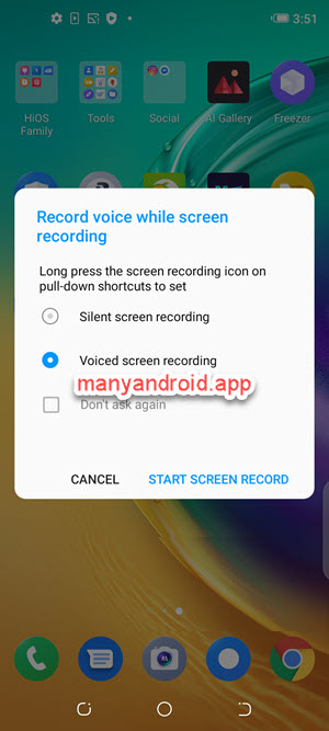 record screen video with external audio on tecno mobile phone
