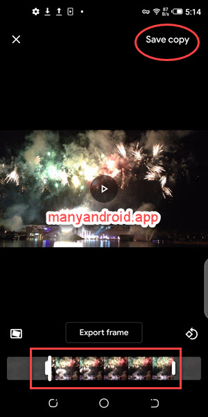 trim videos on android mobile phone using google's photos app