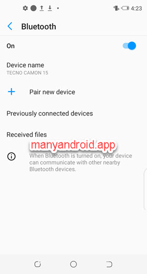 turn on bluetooth on tecno mobile phone