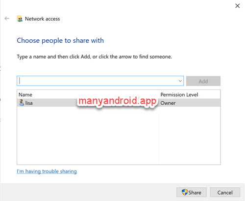 windows 10 computer network access - choose or add people to share with