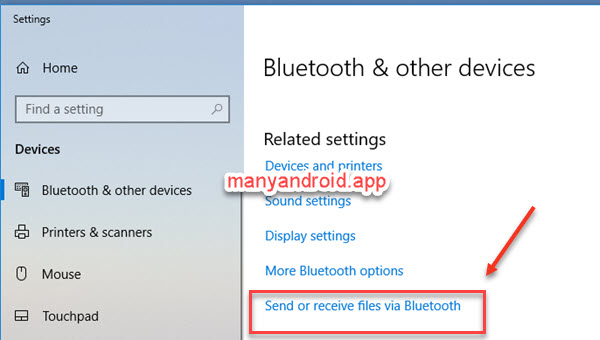 windows 10 computer bluetooth device settings - send or receive files via bluetooth