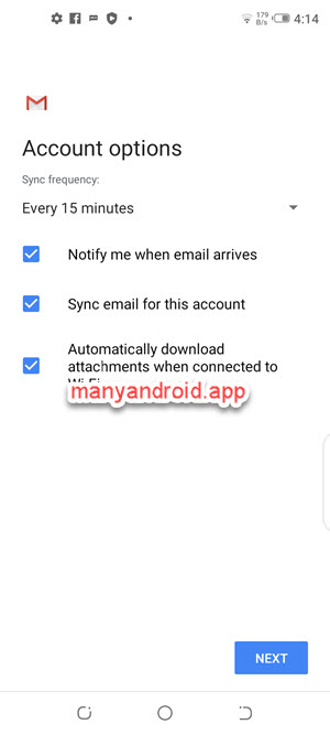 set sync frequency, new email notification, attachment automatic download in Gmail for android.