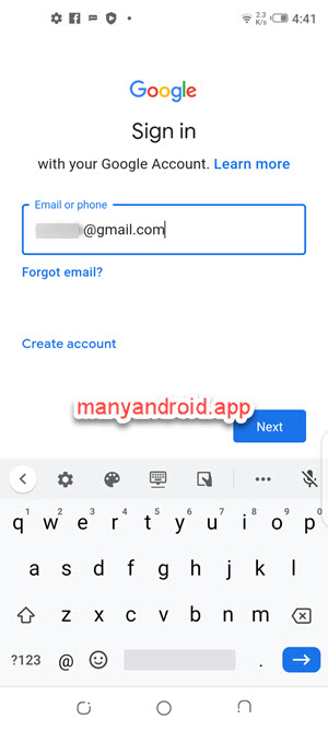 setup gmail account login with username on android mobile phone
