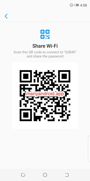 share saved wifi networks via QR code from Tecno Mobile phone