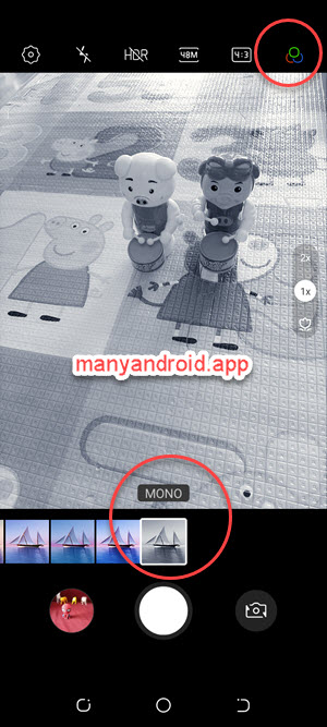 tecno mobile phone camera apply mono color filter to take black and white photos