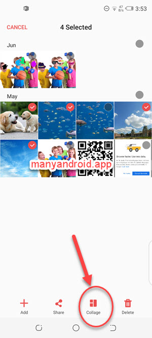 Combine multiple photos into one using Gallery app on Tecno mobile phone