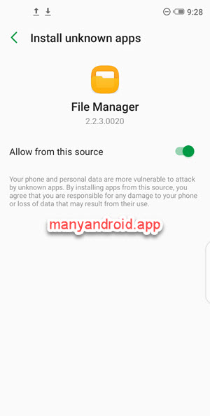 allow file manager app to install unknown apps, apps from unknown source, third-party websites on Infinix mobile phone