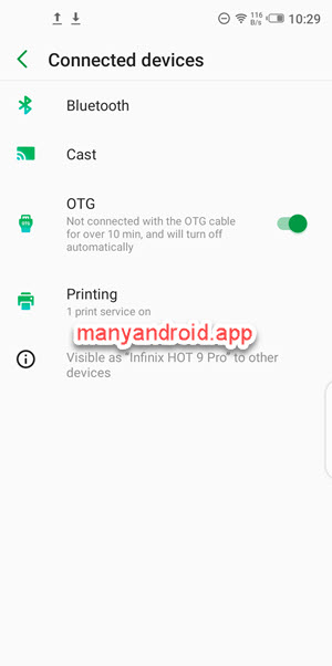 enable otg from settings of infinix mobile phone