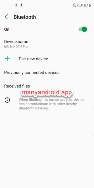 infinix mobile phone bluetooth settings
