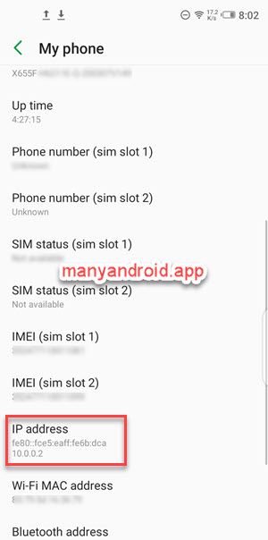 infinix mobile phone settings my phone ip address