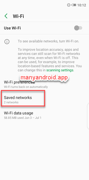 infinix mobile phone settings saved wifi networks