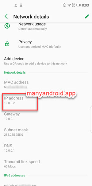 infinix mobile phone find ip address from wifi network details