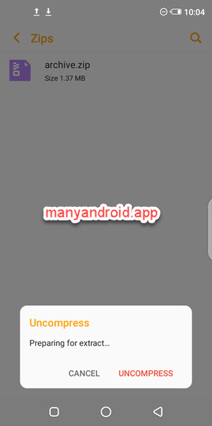 uncompress zip archive using file manager on infinix mobile phone