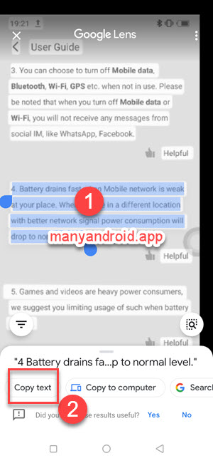 copy text from images, screenshots, photos using google lens on itel and android mobile phones