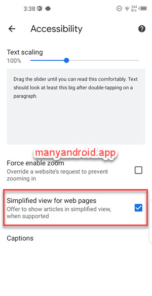 chrome browser for android settings > accessibility > simplified view for web pages